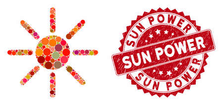 Collage brightness and rubber stamp seal with Sun Power phrase. Mosaic vector is created with brightness icon and with scattered circle elements. Sun Power stamp seal uses red color,