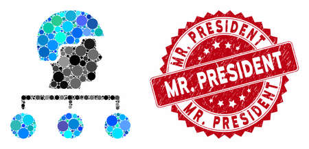 Mosaic builder management links and grunge stamp seal with Mr. President text. Mosaic vector is formed with builder management links icon and with randomized circle elements. Mr.