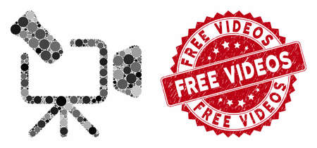 Mosaic camcorder and rubber stamp seal with Free Videos phrase. Mosaic vector is created from camcorder icon and with randomized circle items. Free Videos stamp seal uses red color, Vettoriali