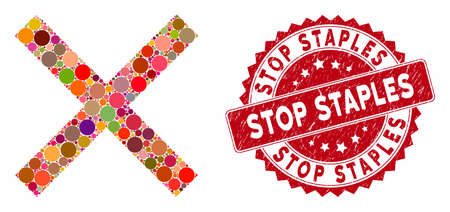 Mosaic cancel and distressed stamp seal with Stop Staples text. Mosaic vector is designed with cancel icon and with scattered round spots. Stop Staples stamp seal uses red color, and grunge design.
