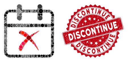 Mosaic cancel day and distressed stamp seal with Discontinue caption. Mosaic vector is formed with cancel day icon and with scattered round items. Discontinue stamp seal uses red color,