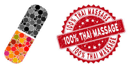 Mosaic capsule and distressed stamp seal with 100% Thai Massage phrase. Mosaic vector is formed with capsule icon and with scattered circle items. 100% Thai Massage stamp seal uses red color,