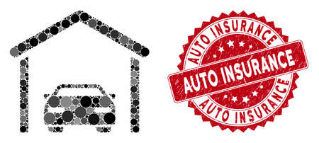 Mosaic car garage and corroded stamp seal with Auto Insurance caption. Mosaic vector is composed with car garage icon and with scattered circle elements. Auto Insurance seal uses red color,