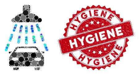 Mosaic car shower and rubber stamp watermark with Hygiene phrase. Mosaic vector is created with car shower icon and with randomized circle items. Hygiene stamp uses red color, and rubber surface.  イラスト・ベクター素材