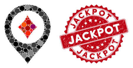 Mosaic casino map pointer and rubber stamp watermark with Jackpot phrase. Mosaic vector is composed with casino map pointer icon and with scattered round spots. Jackpot stamp uses red color,