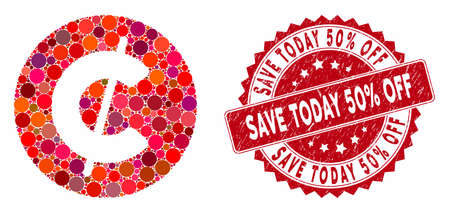 Mosaic cent coin and corroded stamp seal with Save Today 50% Off phrase. Mosaic vector is created with cent coin icon and with randomized circle elements. Save Today 50% Off stamp seal uses red color, Stock Illustratie