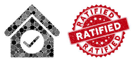Mosaic check building and grunge stamp seal with Ratified caption. Mosaic vector is composed with check building icon and with scattered round spots. Ratified stamp seal uses red color, Illustration