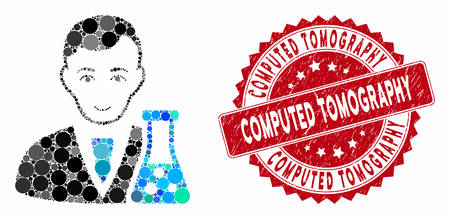 Mosaic chemical scientist and grunge stamp seal with Computed Tomography text. Mosaic vector is composed from chemical scientist icon and with randomized circle elements.