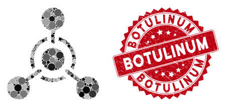 Mosaic chemical weapon and corroded stamp seal with Botulinum text. Mosaic vector is created with chemical weapon icon and with scattered spheric spots. Botulinum stamp seal uses red color, Çizim