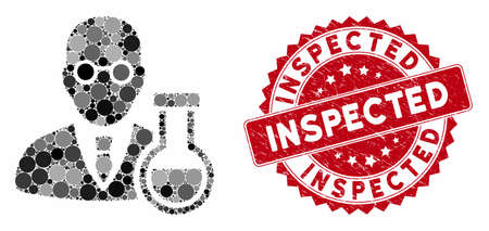Mosaic chemist and grunge stamp seal with Inspected caption. Mosaic vector is formed with chemist icon and with randomized round spots. Inspected stamp seal uses red color, and distress design.