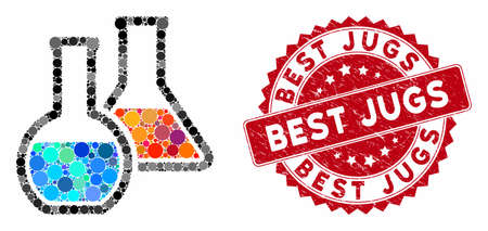 Mosaic chemistry and rubber stamp watermark with Best Jugs caption. Mosaic vector is designed with chemistry icon and with scattered circle spots. Best Jugs stamp seal uses red color, 일러스트