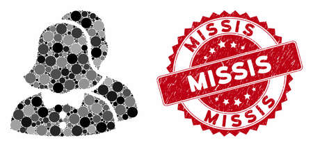 Mosaic childfree family and grunge stamp watermark with Missis text. Mosaic vector is designed with childfree family icon and with random spheric spots. Missis stamp uses red color, Vettoriali