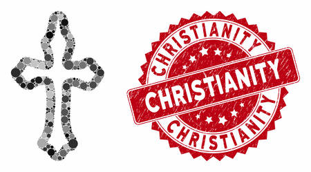 Mosaic christian cross and grunge stamp watermark with Christianity phrase. Mosaic vector is designed with christian cross icon and with scattered circle spots. Christianity stamp uses red color,