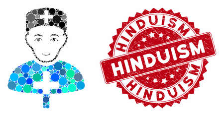 Mosaic church doctor and corroded stamp seal with Hinduism phrase. Mosaic vector is designed with church doctor icon and with randomized spheric spots. Hinduism stamp seal uses red color,