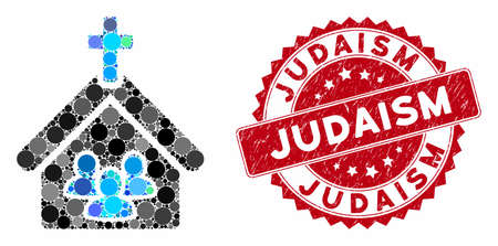 Collage church people and rubber stamp seal with Judaism text. Mosaic vector is designed with church people icon and with random circle items. Judaism stamp seal uses red color, and dirty design.