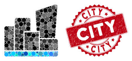 Collage city and rubber stamp seal with City phrase. Mosaic vector is created with city icon and with randomized circle elements. City stamp seal uses red color, and rubber surface. Illustration