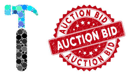 Mosaic claw hammer and grunge stamp seal with Auction Bid text. Mosaic vector is created with claw hammer icon and with scattered circle items. Auction Bid stamp seal uses red color, Stock fotó - 133487070