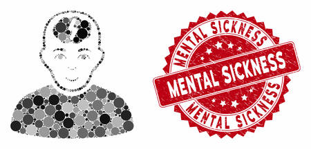 Mosaic clever boy and grunge stamp watermark with Mental Sickness phrase. Mosaic vector is designed with clever boy icon and with random circle items. Mental Sickness stamp seal uses red color,
