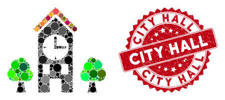 Mosaic clock tower and distressed stamp seal with City Hall phrase. Mosaic vector is formed with clock tower icon and with randomized round elements. City Hall stamp seal uses red color,