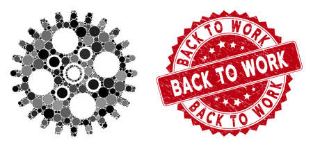 Mosaic cogwheel and distressed stamp seal with Back to Work text. Mosaic vector is composed with cogwheel icon and with random circle items. Back to Work stamp seal uses red color, and grunge surface.