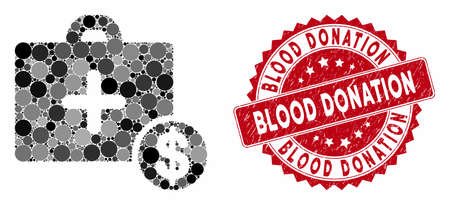 Mosaic commercial medicine case and grunge stamp seal with Blood Donation caption. Mosaic vector is designed from commercial medicine case icon and with scattered circle items.