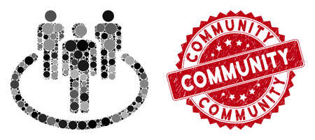 Mosaic community and corroded stamp seal with Community phrase. Mosaic vector is composed with community icon and with scattered circle spots. Community stamp seal uses red color, 일러스트