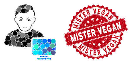 Mosaic computer administrator and grunge stamp seal with Mister Vegan text. Mosaic vector is composed with computer administrator icon and with scattered circle elements.