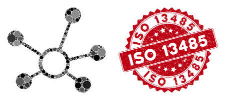 Mosaic connection links and grunge stamp watermark with ISO 13485 phrase. Mosaic vector is formed with connection links icon and with random round elements. ISO 13485 stamp uses red color,