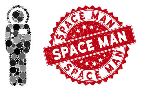 Mosaic cosmonaut and grunge stamp watermark with Space Man text. Mosaic vector is formed with cosmonaut icon and with scattered round spots. Space Man stamp uses red color, and grunge texture.