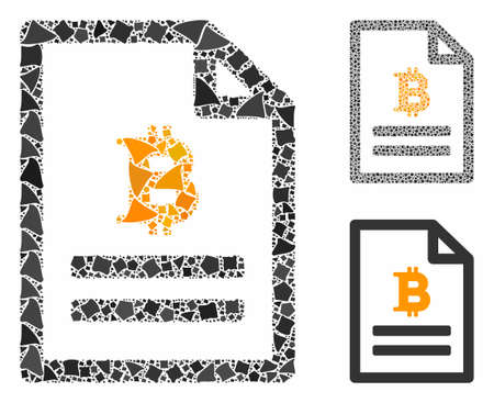 Bitcoin price page composition of abrupt parts in variable sizes and shades, based on Bitcoin price page icon. Vector ragged parts are grouped into composition.