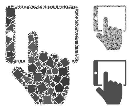 Tablet point mosaic of humpy parts in different sizes and color tints, based on tablet point icon. Vector humpy parts are organized into mosaic. Tablet point icons collage with dotted pattern. Illusztráció