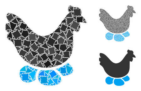 Chicken hen composition of ragged pieces in variable sizes and color tones, based on chicken hen icon. Vector trembly pieces are organized into composition.