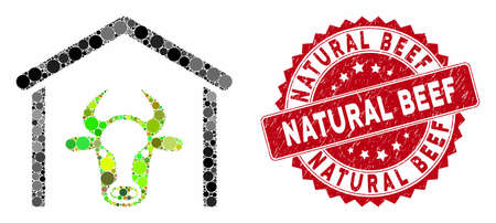 Mosaic cow garage and grunge stamp seal with Natural Beef text. Mosaic vector is formed from cow garage icon and with randomized spheric elements. Natural Beef stamp seal uses red color,