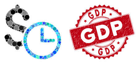 Mosaic credit and grunge stamp seal with GDP caption. Mosaic vector is designed with credit icon and with randomized round spots. GDP stamp uses red color, and grunge design.