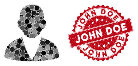 Mosaic customer and rubber stamp watermark with John Doe caption. Mosaic vector is created with customer icon and with scattered round items. John Doe stamp uses red color, and rubber design. Ilustrace