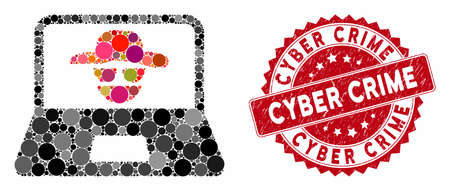 Mosaic cyber crime and rubber stamp seal with Cyber Crime phrase. Mosaic vector is created with cyber crime icon and with random spheric spots. Cyber Crime stamp seal uses red color,