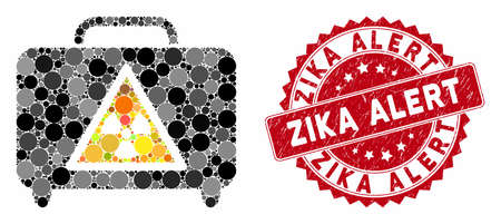 Mosaic dangerous luggage and corroded stamp seal with Zika Alert caption. Mosaic vector is designed with dangerous luggage icon and with scattered spheric elements.