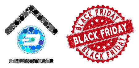 Mosaic Dash bank and rubber stamp watermark with Black Friday caption. Mosaic vector is created with Dash bank icon and with random circle elements. Black Friday stamp seal uses red color, Illustration