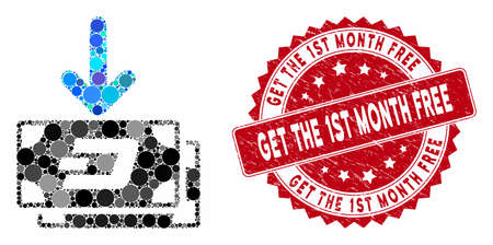 Mosaic Dash banknotes income and grunge stamp seal with Get the 1St Month Free text. Mosaic vector is designed with Dash banknotes income icon and with random spheric elements. Illusztráció