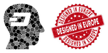 Mosaic Dash thinking and grunge stamp seal with Designed in Europe caption. Mosaic vector is created with Dash thinking icon and with scattered spheric items. Designed in Europe seal uses red color,