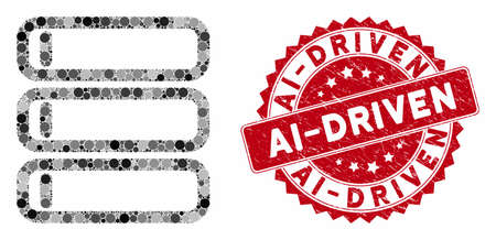 Mosaic database and rubber stamp watermark with Ai-Driven phrase. Mosaic vector is formed with database icon and with random round items. Ai-Driven seal uses red color, and rubber surface.