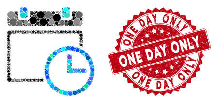 Mosaic date and time and rubber stamp seal with One Day Only caption. Mosaic vector is designed with date and time icon and with scattered circle items. One Day Only stamp uses red color,