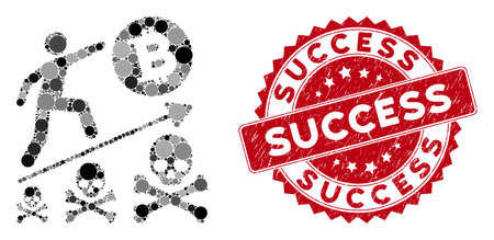 Collage deadly Bitcoin achievement and corroded stamp seal with Success phrase. Mosaic vector is designed with deadly Bitcoin achievement icon and with scattered circle elements.