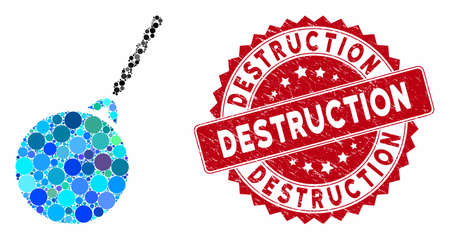 Mosaic destruction hammer and grunge stamp seal with Destruction text. Mosaic vector is created with destruction hammer icon and with scattered spheric items. Destruction stamp seal uses red color,