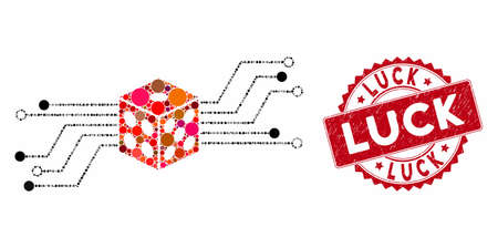 Mosaic digital dice circuit and rubber stamp watermark with Luck caption. Mosaic vector is designed with digital dice circuit icon and with randomized round spots. Luck stamp uses red color,