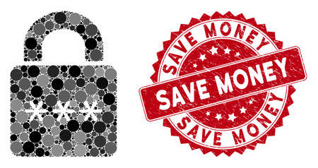 Mosaic digital lock and grunge stamp seal with Save Money text. Mosaic vector is composed with digital lock icon and with random circle elements. Save Money stamp seal uses red color,