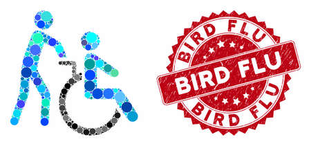 Mosaic disabled person transportation and distressed stamp seal with Bird Flu text. Mosaic vector is composed with disabled person transportation icon and with scattered circle spots.