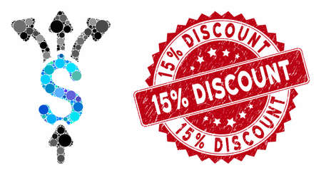 Mosaic divide payments and distressed stamp seal with 15% Discount phrase. Mosaic vector is designed with divide payments icon and with randomized circle spots. 15% Discount stamp seal uses red color,