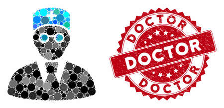 Mosaic doctor and grunge stamp seal with Doctor caption. Mosaic vector is formed with doctor icon and with random round items. Doctor stamp seal uses red color, and scratched surface. 일러스트