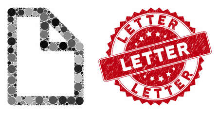 Mosaic document and corroded stamp seal with Letter caption. Mosaic vector is created with document icon and with randomized round spots. Letter seal uses red color, and distress surface. Illustration